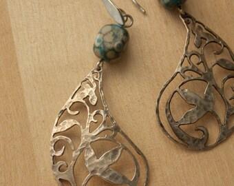 Bohemian earrings, Boho chic earrings, Jasper earrings, gemstone earrings, boho elegant, boho style, gipsie hippie, rustic earrings