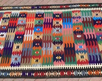 LOVELY design Kilim rug, 100''x50'', Vintage Turkish rug, rugs, bright colored area rug, vintage rug, bohemian rug, eccentric rug, rugs,