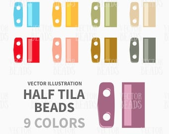 Clip-art Pack of Two-hole Half Tila Beads - Instant Download