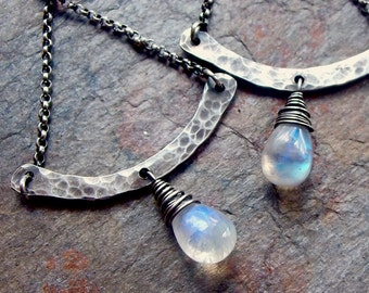 Rainbow Moonstone Sterling Silver Chandelier Earrings
