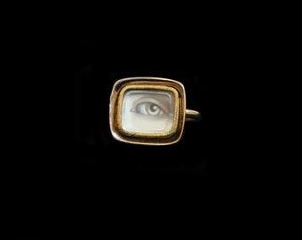 MoonsCuriousItems-Sandra Hendler Miniature Lover's Eye Painting in a Gold Georgian Locket Ring (1820's)