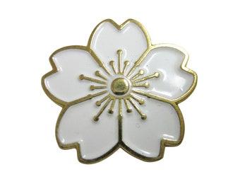 White Cherry Blossom Flower Magnet