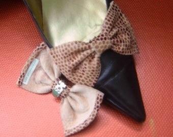Brown Italian Leather Snake Imprint Shoe Clips Elegant - Joey