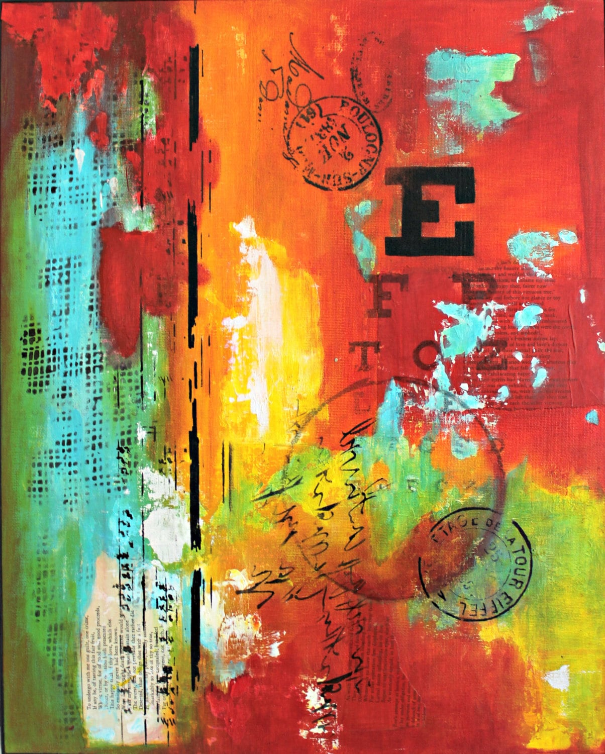 abstract art acrylic painting red art home decor red art