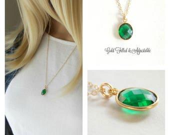 Gold Filled Emerald Quartz Gemstone Necklace.Emerald Jewelry, May Birthstone, Gemstone Jewelry