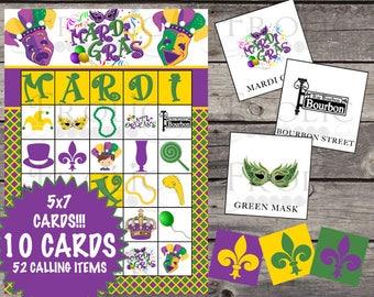 Mardi Gras Bingo 10 cards INSTANT DOWNLOAD