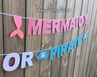 Mermaid or Pirate Gender Reveal Banner - Mermaid and Pirate Party