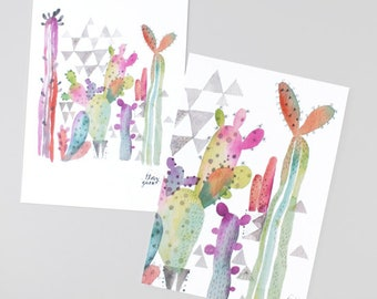 Cacti jungle postcard, Multicolor cactus card, For cactus lover, Whimsical, Plant illustration, Cactus illustration, Cute cactus, Cute cards