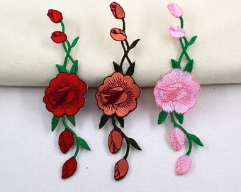 rose patch long flower patch for vans embroidered gorgeous high guality vans embroidered patch iron on patch iron on patches sew on patch