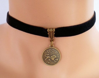 black velvet choker, leo choker, leo necklace, stretch ribbon, zodiac charm, antique bronze
