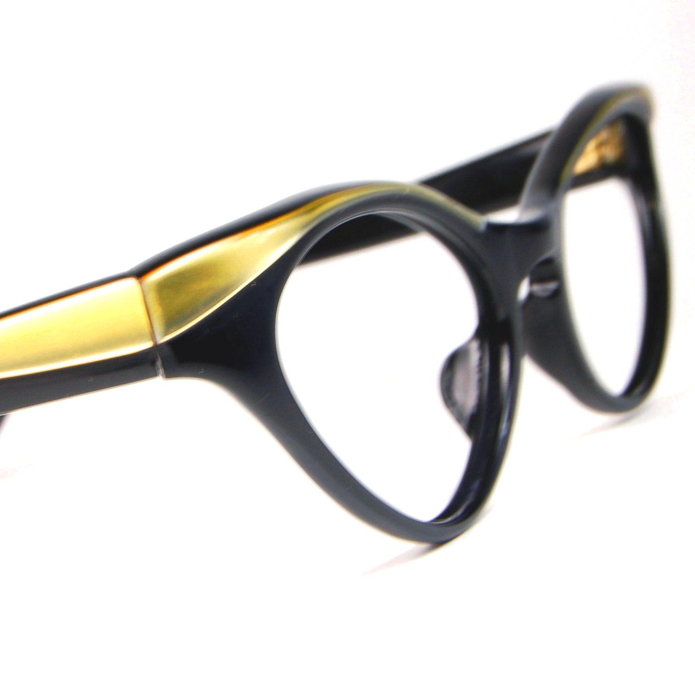 Jahrgang 1950 schwarz und Gold geflügelten Cat Eye Brille
