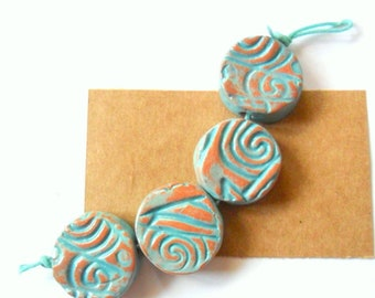 """Rustic 3/4"""" Terra Cotta Clay Kiln Fired Beads with Distressed Turquuoise Glaze, set of 4"""