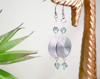 Long Disc Earrings with Blue Crystals Gift for Mom Dangle Birthstone Earrings Textured Disc Earrings Gift for Sister Teachers Gift under 25