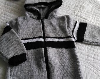 vest boy hooded zippered 18 month black white gray color acrylic spike