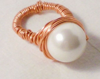 Solid Copper Shell Pearl Wire Wrapped Ring, Full Moon