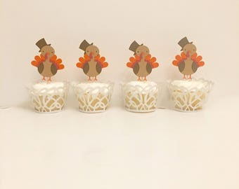 Turkey Cupcake Toppers. Thanksgiving Cupcake Toppers. Thanksgiving Party. Turkey Party. Fall Decorations. Fall Baby Shower.