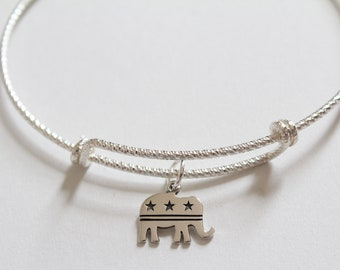 Sterling Silver Bracelet with Sterling Silver Republican Charm, Republican Bracelet, Republican Charm Bracelet, Republican Party Elephant