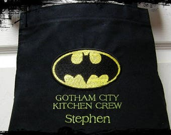 Personalized Embroidered BATMAN Dad Butcher Grilling Cooking Baking Men's Apron