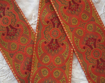 """1y Vintage French 2"""" Wide Muted Red Gold Sage Green Gold Metallic Floral Paisley Jacquard Ribbon Boho Trim Tote Bag Purse Pillow Home Decor"""
