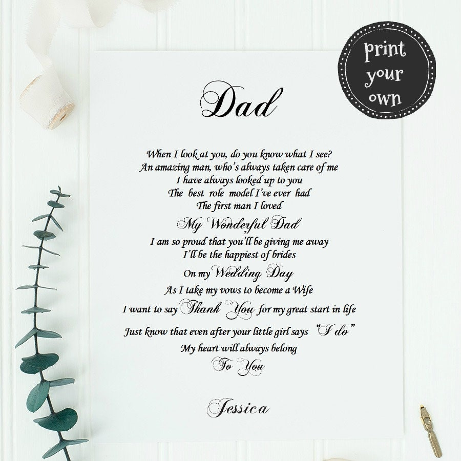 Father Of The Bride Gift From Daughter PRINT YOUR OWN Dad