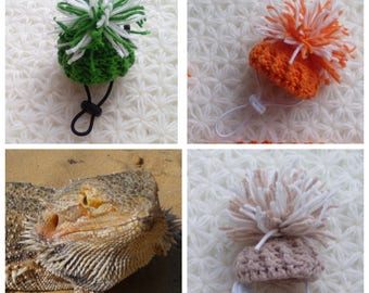 Bearded Dragon Hat - Bearded Dragon Pom Pom Hat - Handmade dragon clothes - Handmade lizard clothes