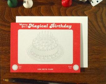 letterpress retro etch a sketch birthday card wishing you a magical birthday