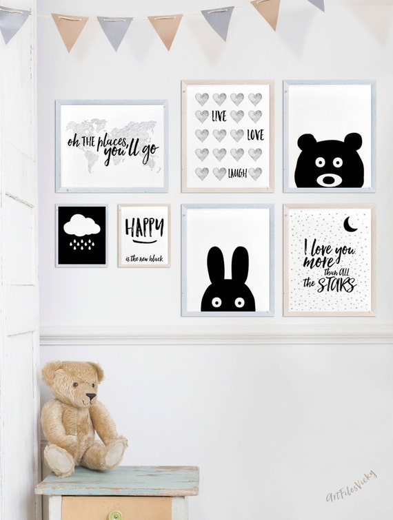 Nursery prints set of prints set of 7 art prints nursery