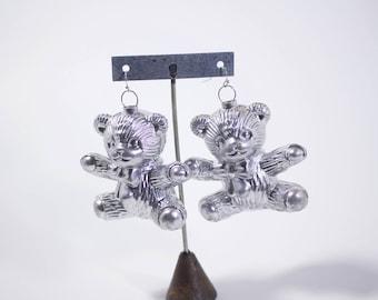 Baby Bear // Lil Teddy Bear Babe // Silver Tone Re-Worked // Re-Purposed Earrings