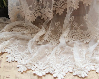 Off-white Embroidered Lace Fabric