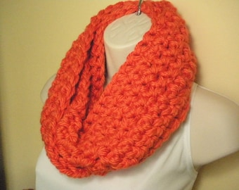 Bright Orange Cowl Infinity Circle Scarf Neckwarmer Extra Thick Extra Bulky
