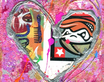 557. HEART PAINTING - Small wall art - Small painting - Small acrylic painting - Original Art - red and pink Heart - Abstract Painting