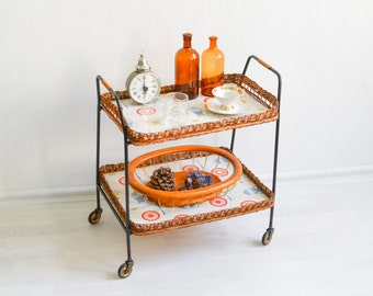 Rattan Bar cart, Wicker tea cart, serving cart, 60s bar cart, wicker tray cart