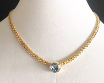 Grey Crystal Necklace, Grey Swarovski Necklace, Swarovsk Grey Gold Bridal Necklace, Grey Swarovski Bridal Necklace