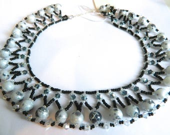 Black and white beaded bib necklace with graffiti planet beads - Luna