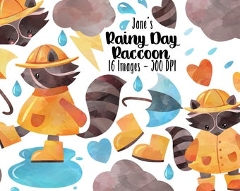 Watercolor Rainy Day Clipart - Download - Instant Download - Raccoon - Rain Cloud - Umbrella