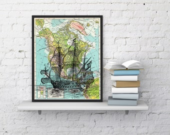 Old Ship on Map Vintage Book Print Dictionary or Encyclopedia Page Print map  Print on Vintage Book art SEA113