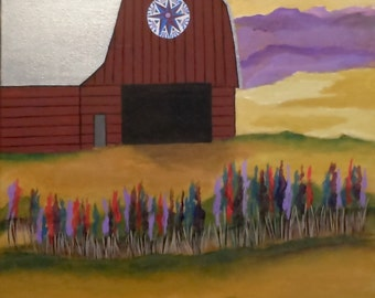 Red Barn Landscape Original Folk Art Painting Field of Flowers with Pennsylvania Dutch style Good Luck Sign 16x20 by Jeanne Fry