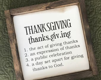 Thanksgiving Defined • Farmhouse Style Sign