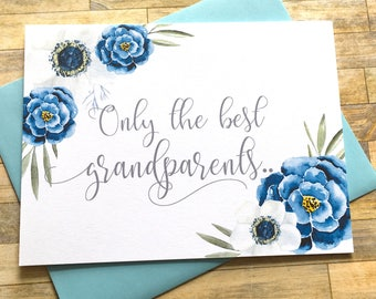 Grandparents Pregnancy Announcement Card - Only the best Grandparents get promoted to Great Grandparents - Reveal to Grandma and Grandma
