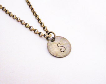 Initial Necklace Jewelry Personalized Initial Necklace Pendant Bridesmaid Gift Bridesmaid Jewelry Necklace Jewelry, bronze brass handstamped