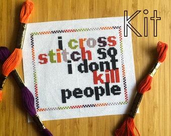 Cross stitch kit, happy stitcher, modern cross stitch diy kit