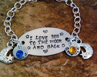 Personalized Mom Bracelet, I Love You To The Moon And Back Bracelet, Gift For Mom Jewelry, Aluminum Jewelry