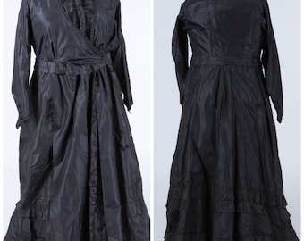 Antique mourning gown, victorian, late 1800, 1900, 1910, antique gown, danish gown, XXXL, plus size, black gown, historical clothing