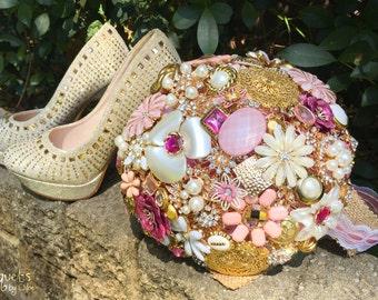 Wedding Brooch Bouquet, Broach Bouquet, Brooch Bouquet, Pink Gold Bouquet, Gold Wedding, Bridal Brooch Bouquet, Button Bouquet, DEPOSIT ONLY