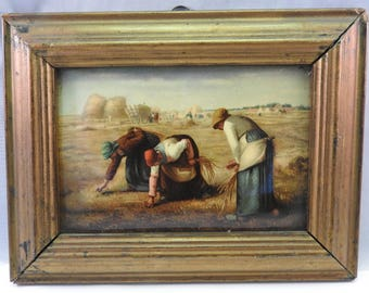 antique picture on lacquered card , gilt framed miniature