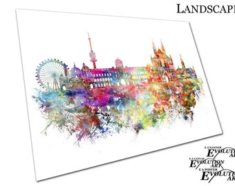 Watercolour city of Vienna Capital of Austria painterly Poster Print X1776