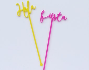 Hola, Fiesta, Salud, Celebrar, 6 CT. Swizzle Sticks, Stir Sticks, Drink Stirrers Laser Cut, Acrylic