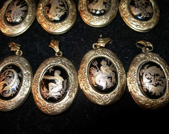 Zodiac cameos, vintage or antique, in vintage brass lockets -- -OlympiaEtsy, WWWG, etsyTrashion, paganteam, GeekGirls, SupportingArtists