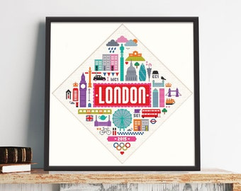 Giant London - Feature Cross Stitch Pattern (Digital Format - PDF)