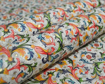 Florentine Italian Decorative Paper by Rossi - Flowers, Leaves and Scrolls
